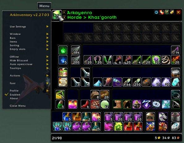 Аддон ArkInventory для World of WarCraft 6.0.3